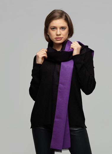 Silk and Cashmere Kaşmir Elisabeth Ponpon Detayli Eldiven İpekli İki Renkli Lotus Kaşkol 30X180 Gri